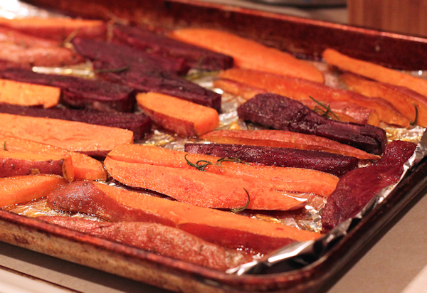 orange and purple sweet potato fries
