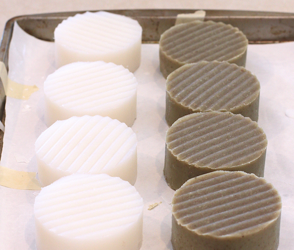 100% coconut oil soap(L) and French Green Clay soap(R)