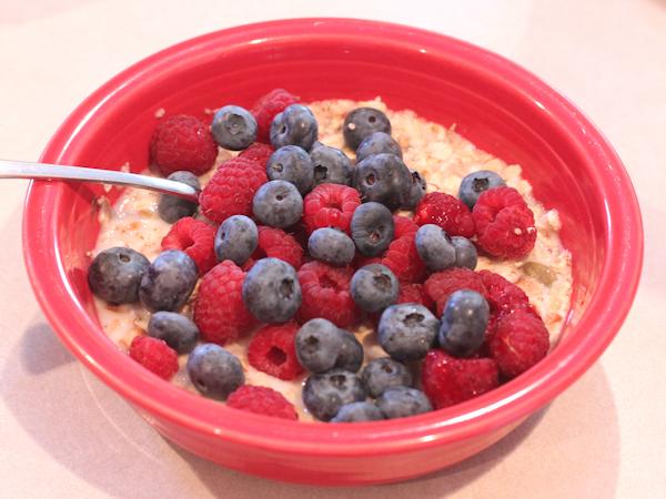 homemade muesli topped with fresh fruit