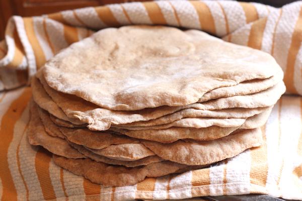 stack of fresh baked pita bread