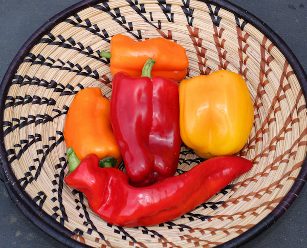 assortment of ripe sweet peppers