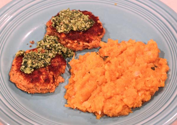 salmon with arugula pesto