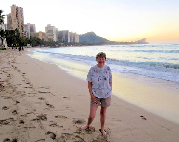 Lynda on Waikiki beach