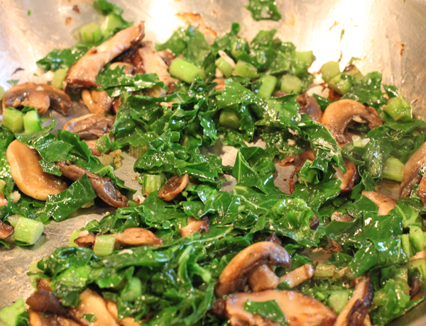 kale and mushrooms