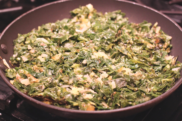 Kale and Potato Hash with White Russian kale