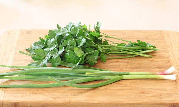 green garlic with Splendid parsley