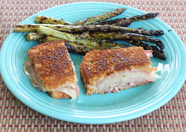 Reuben sandwich with grilled asparagus