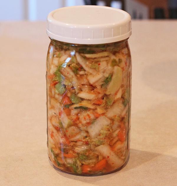 kimchi fermenting in the jar