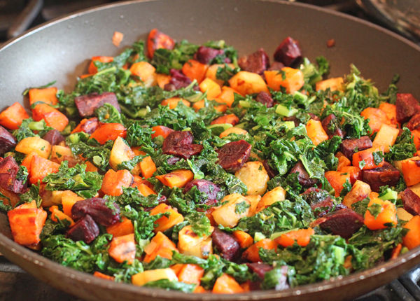 kale and sweet potato hash