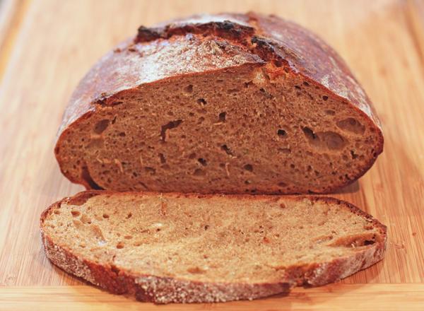 crumb shot of Artisan Sourdough Rye bread