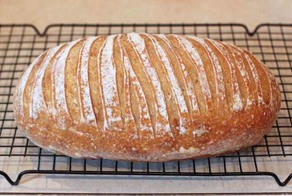 zebra scored sourdough bread