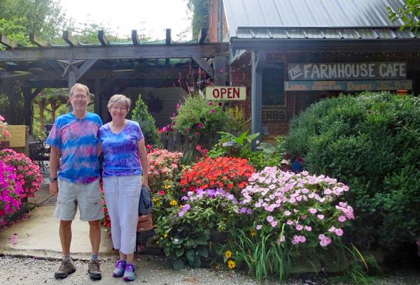me and Lynda outside the Farmhouse Cafe
