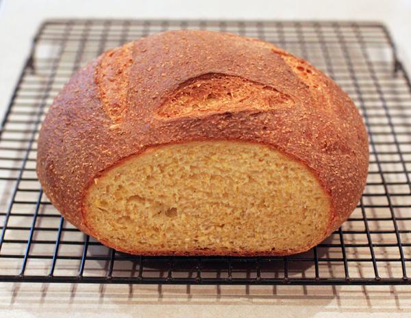crumb shot of Broa Bread