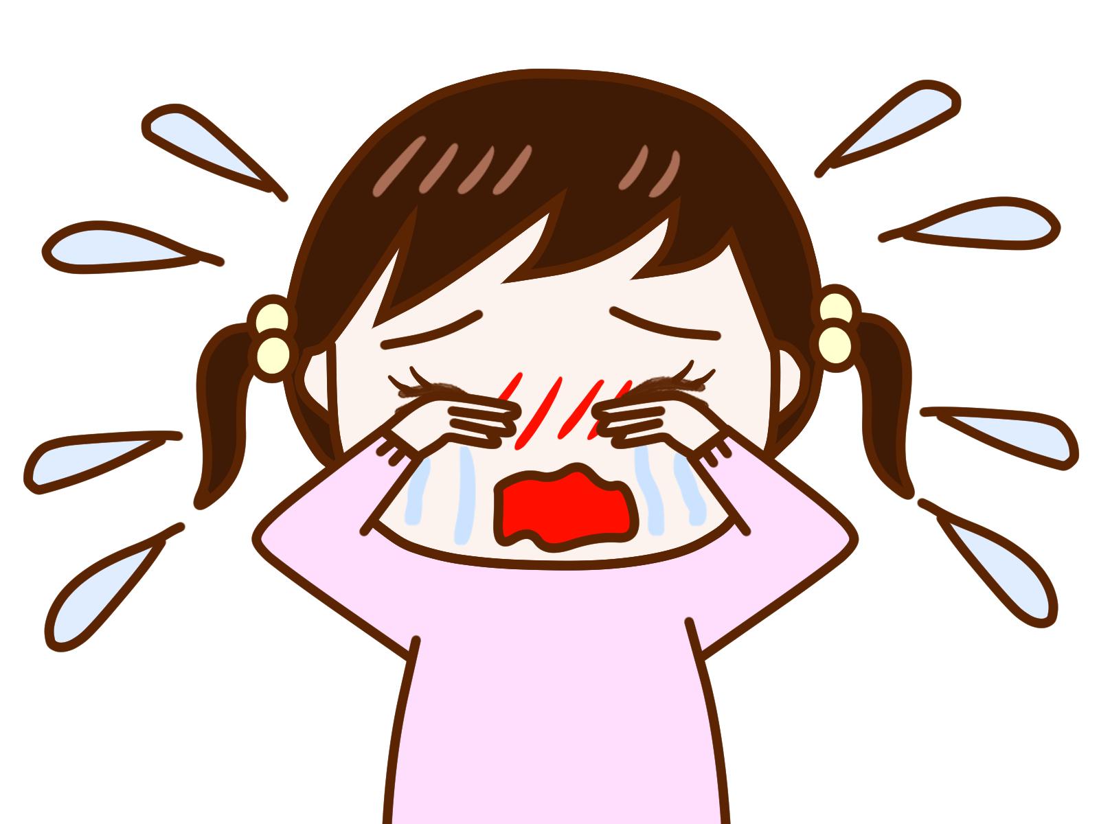 大泣きする小さい女の子のイラスト