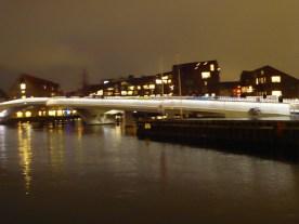 The new bicycle and pedestrian bridge in Copenhagen harbor