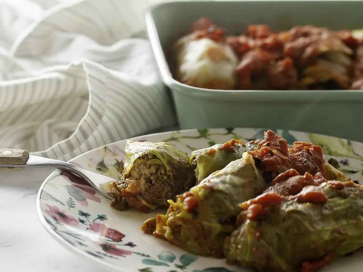 Vegan Mushroom Stuffed Cabbage Rolls