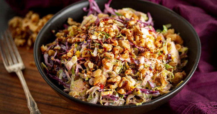 Hearty Vegan Brussel Sprout Coleslaw