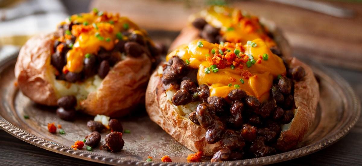 Vegan Cheesy Baked Potato & BBQ Black Beans