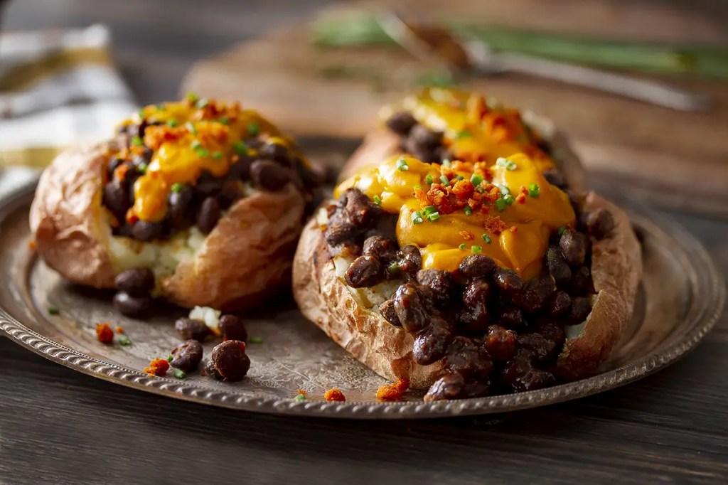 Vegan & Gluten Free Cheesy Baked Potato & BBQ Beans