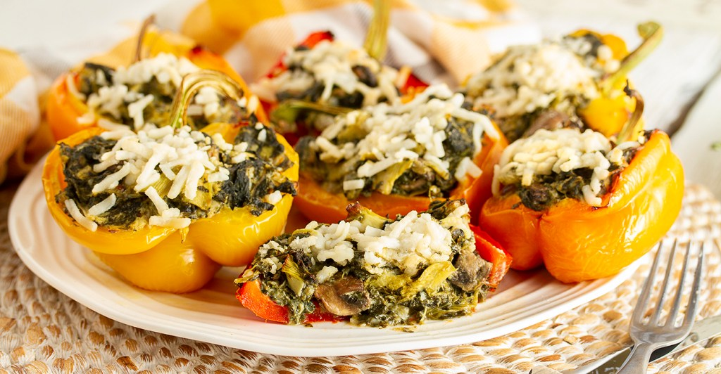 Gluten-Free & Vegan Cheesy Spinach & Artichoke Stuffed Peppers - IMG_5305 LR