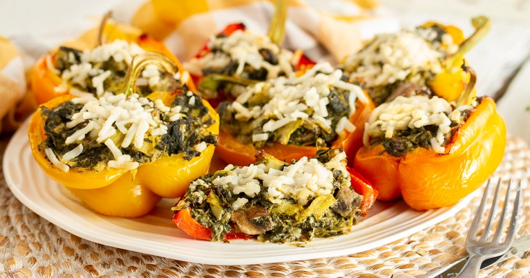 """Cheesy"" Artichoke & Spinach Stuffed Peppers"