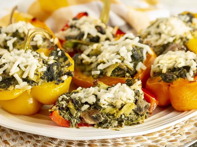 Gluten-Free & Vegan Cheesy Spinach & Artichoke Stuffed Peppers - IMG_5305 LR