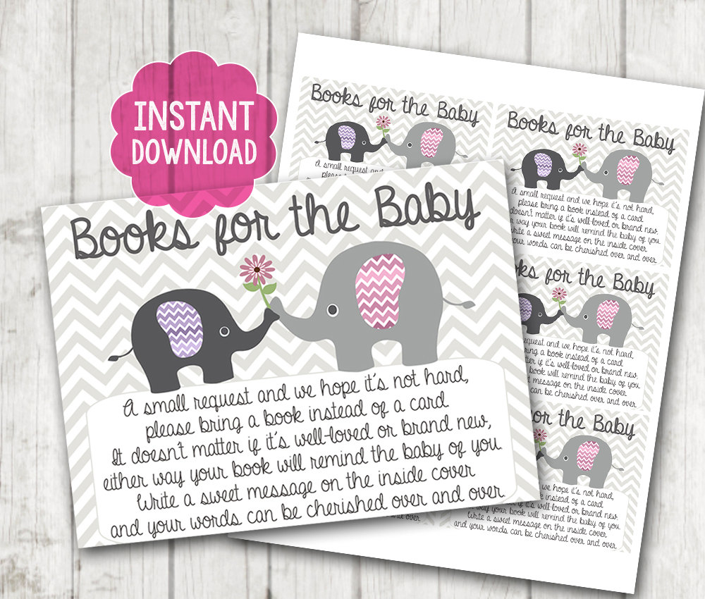 Instant Download Printable Girl Elephant Baby Shower Bring A Book Instead  Of A Card Invitation Inserts