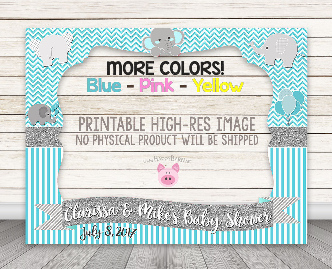 PRINTABLE Elephant Photo Booth Frame - Baby Shower or Birthday ...