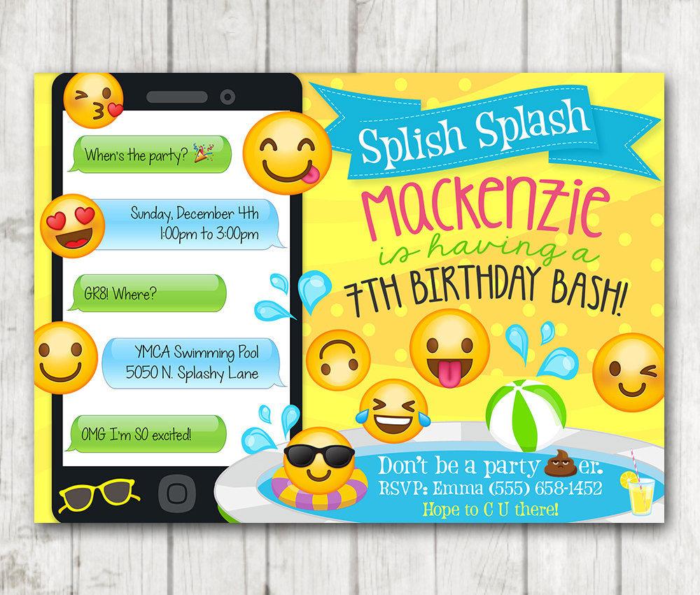 Printable Emoji Pool Party Party Invitation Happy Barn