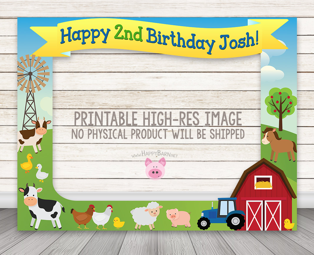 PRINTABLE Farm Birthday Party Photo Booth Frame, Barn Party, Tractor ...