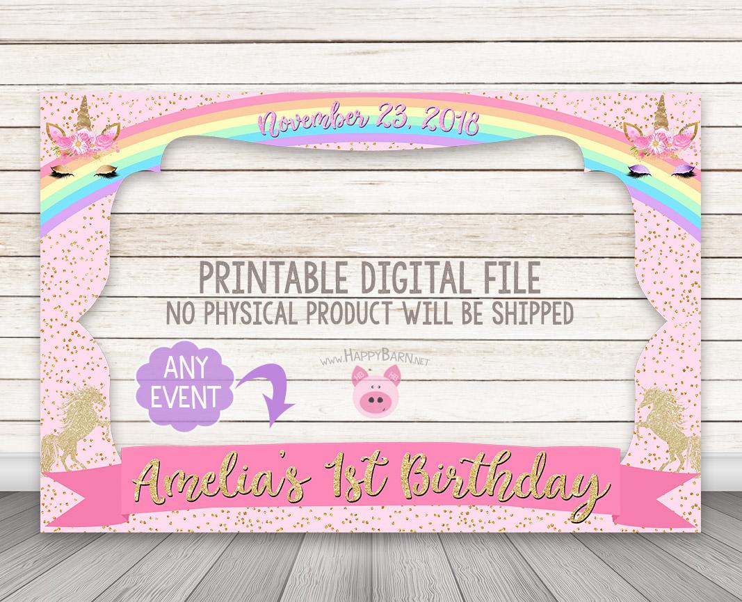 PRINTABLE Gold Pastel Rainbow Unicorn Photo Booth Frame – Happy Barn