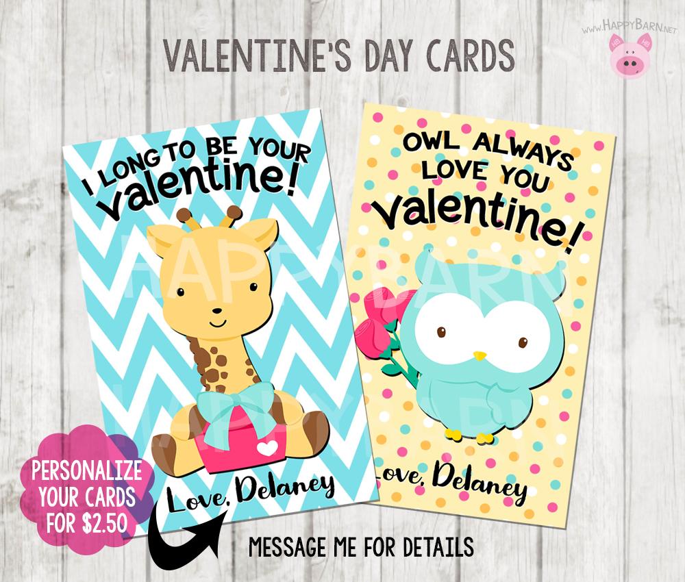 Printable Animals Valentine\'s Day Cards, Kids School Valentines ...