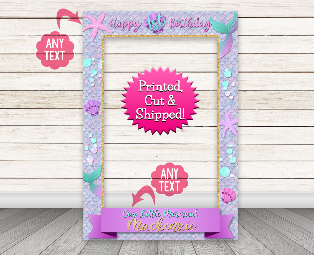 Mermaid Photo Booth Frame, Mermaid Selfie Photo Prop Cutout – Happy Barn