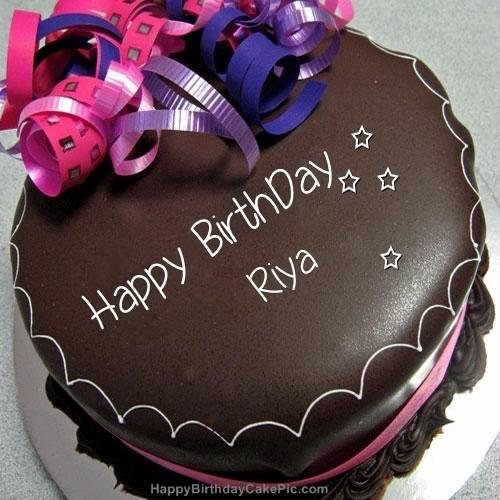Happy Birthday Chocolate Cake For Riya