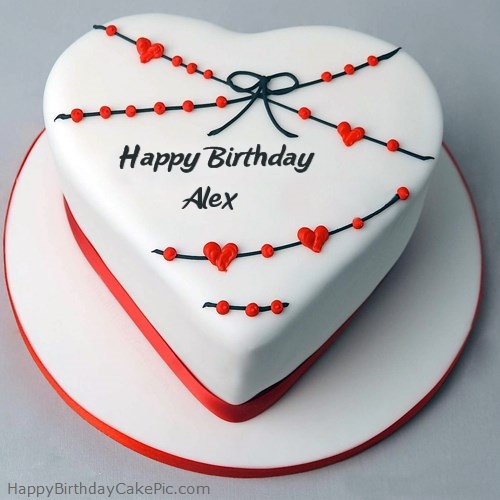 Red White Heart Happy Birthday Cake For Alex