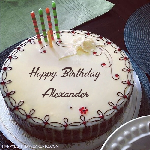 Candles Decorated Happy Birthday Cake For Alexander
