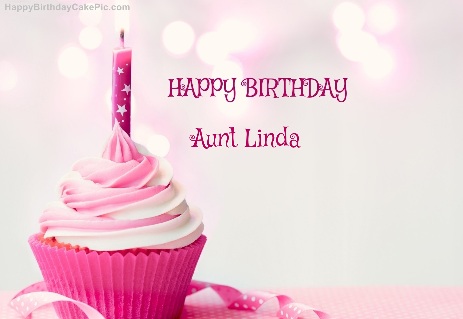 Happy Birthday Cupcake Candle Pink Cake For Aunt Linda