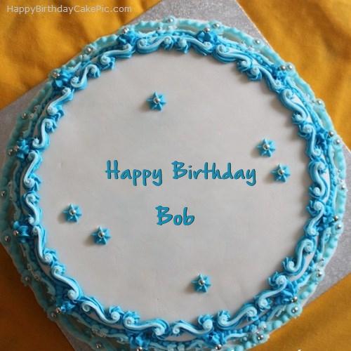 Blue Floral Birthday Cake For Bob