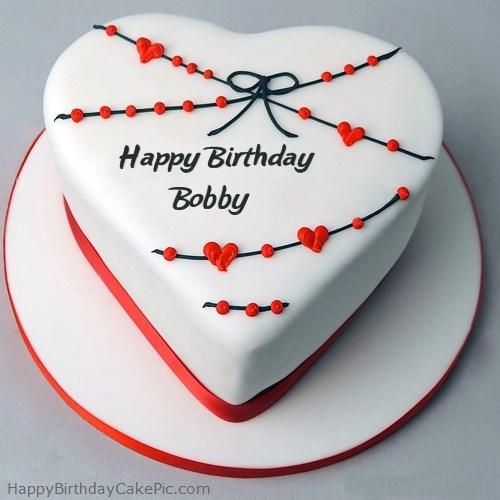 Red White Heart Happy Birthday Cake For Bobby