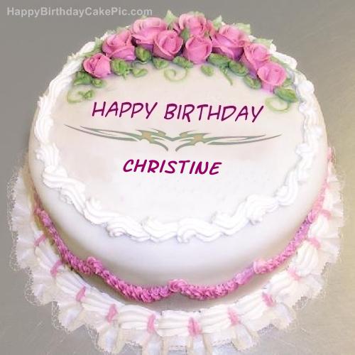 Pink Rose Birthday Cake For Christine
