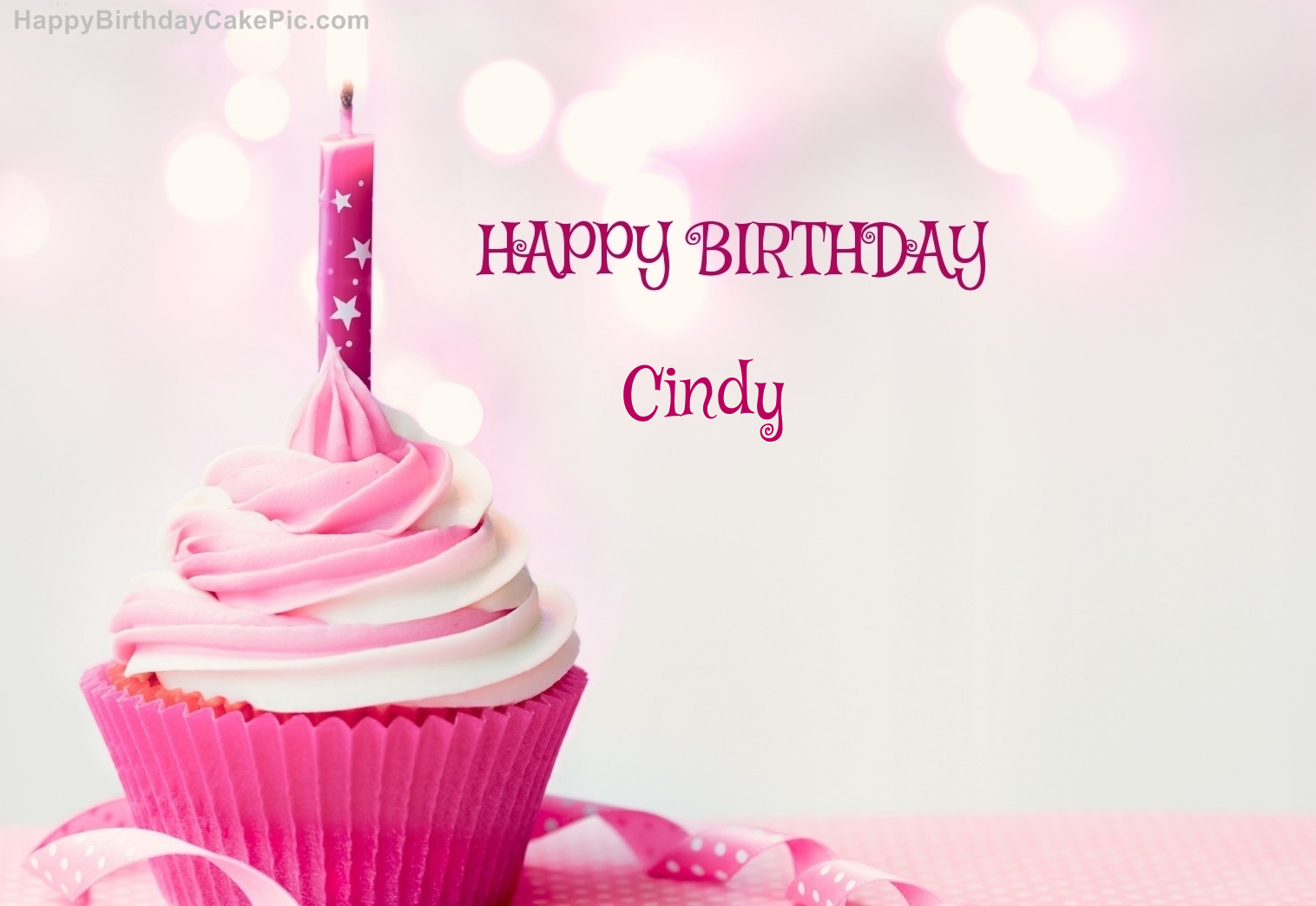 Happy Birthday Cupcake Candle Pink Cake For Cindy