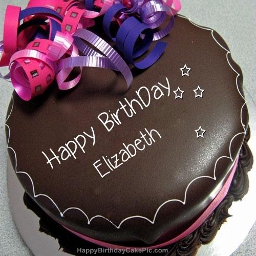 Happy Birthday Chocolate Cake For Elizabeth