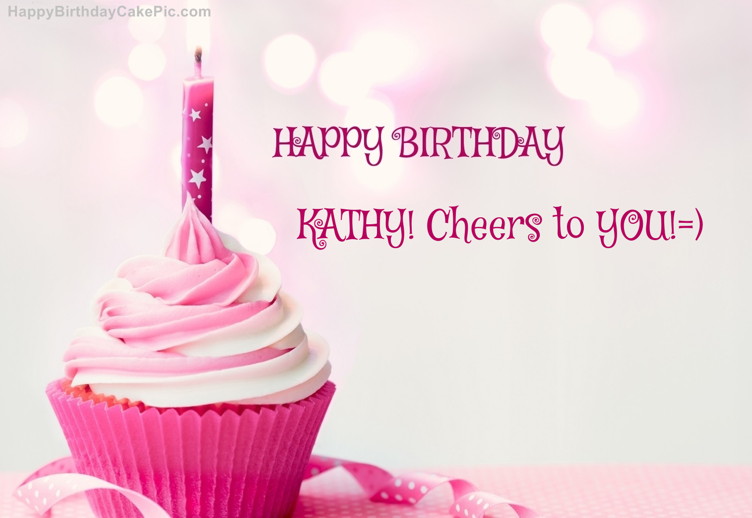 Happy Birthday Cupcake Candle Pink Cake For Kathy Cheers