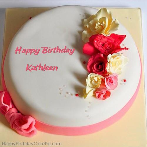 Roses Happy Birthday Cake For Kathleen