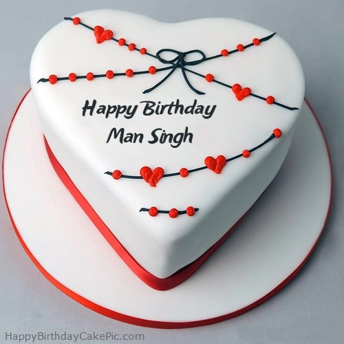 Red White Heart Happy Birthday Cake For Man Singh