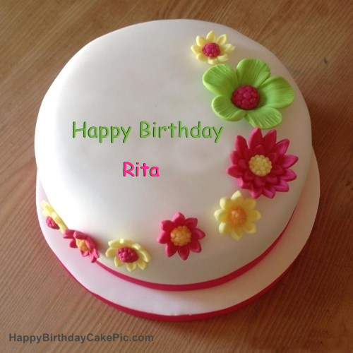 Colorful Flowers Birthday Cake For Rita