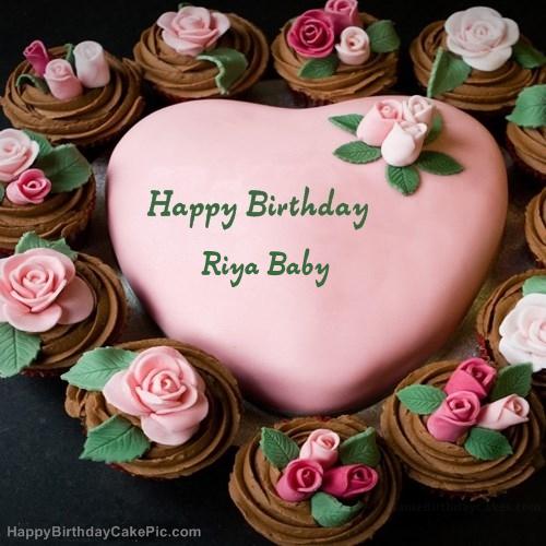 Pink Birthday Cake For Riya Baby