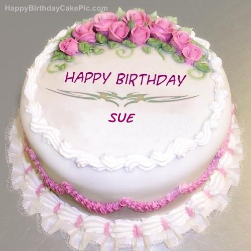 Pink Rose Birthday Cake For Sue