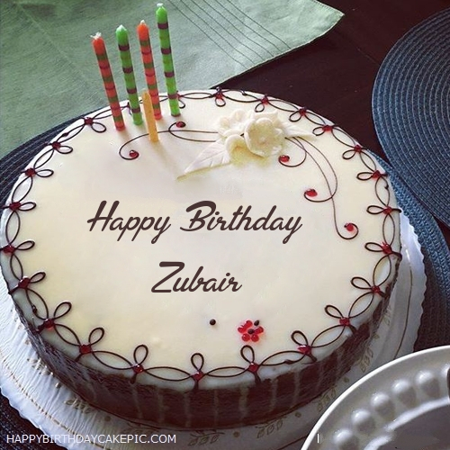 Candles Decorated Happy Birthday Cake For Zubair