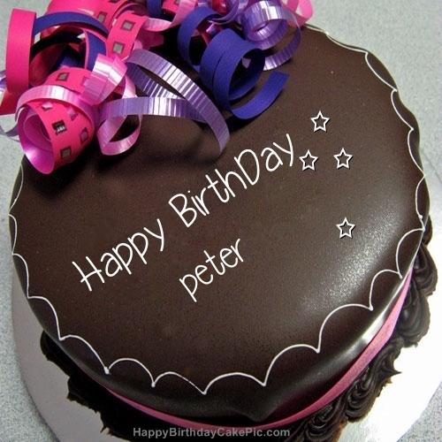 Happy Birthday Chocolate Cake For Peter